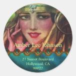 Alkmaar Kashmir in Aqua & Gold Round Sticker