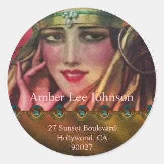 Alkmaar Kashmir in Gold & Pink Classic Round Sticker