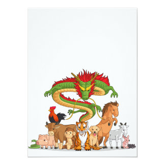 All 12 Chinese Zodiac Animals Together Card