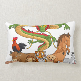 All 12 Chinese Zodiac Animals Together Pillow