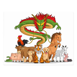 All 12 Chinese Zodiac Animals Together Postcard