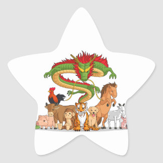 All 12 Chinese Zodiac Animals Together Star Stickers