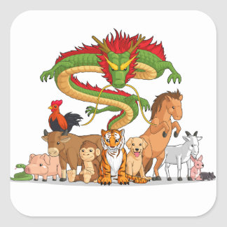 All 12 Chinese Zodiac Animals Together Square Sticker