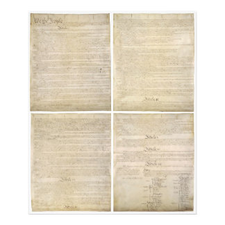 All 4 Original Pages of United States Constitution Photo Print