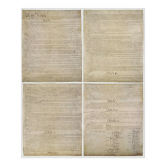 All 4 Original Pages of United States Constitution Poster