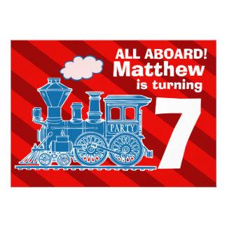 All aboard boys train birthday party invite