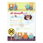 "All aboard, choo choo/ birthday party invitations 5"" x 7"" invitation card"