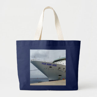 All Aboard Personalized Ship Bow Large Tote Bag