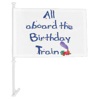 All Aboard the Birthday Train Car Flag