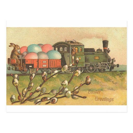 All Aboard ! The Easter Train ! Postcard