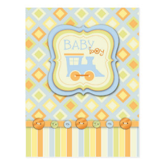 All Aboard! Train Baby Shower Postcard