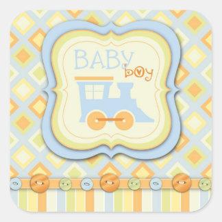 All Aboard! Train Baby Shower Square Sticker