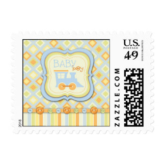 All Aboard Train Baby Shower Stamps