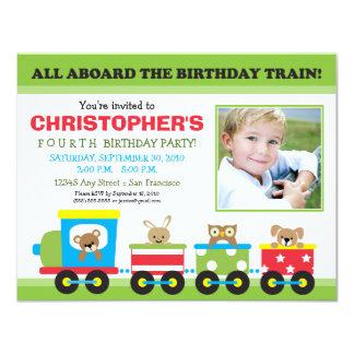 All Aboard Train Boy's Birthday Invitation (green)