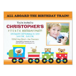All Aboard Train Boy's Birthday Invite (orange)