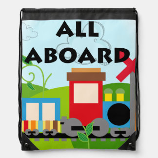 All Aboard Train Drawstring Backpack Bag