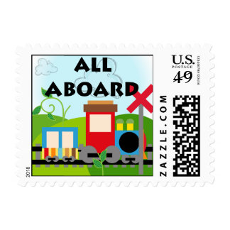 All Aboard Train Postage Stamps