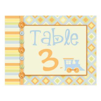 All Aboard! Train Table Card Baby Shower