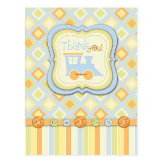 All Aboard Train Thank You Baby Shower Postcard