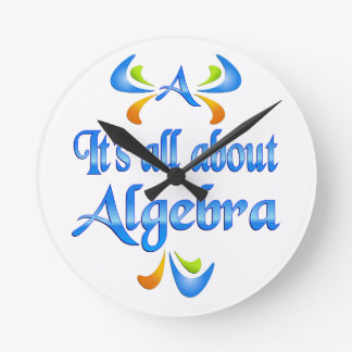 All About ALGEBRA Round Wall Clock