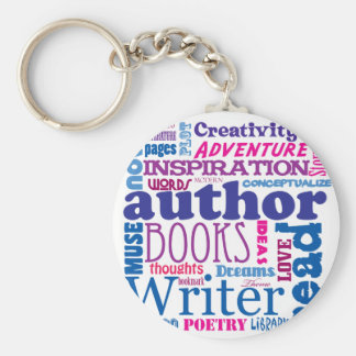 All About Authors! Basic Round Button Keychain