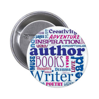 All About Authors blue Pinback Button
