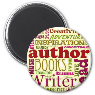 All About Authors red 2 Inch Round Magnet