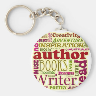 All About Authors red Basic Round Button Keychain