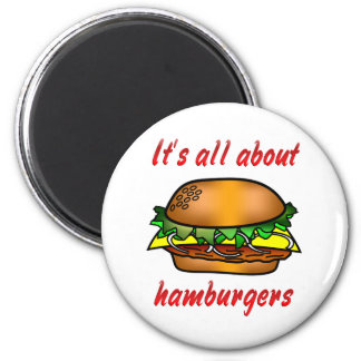 All About Hamburgers 2 Inch Round Magnet