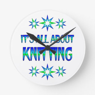 All About Knitting Round Clock