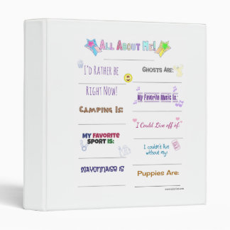 All About Me Customize it Binder