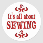 ALL ABOUT SEWING ROUND STICKER
