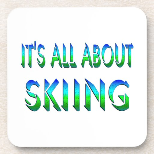 All About Skiing Beverage Coasters