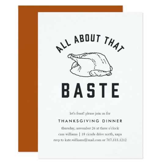 All About That Baste Thanksgiving Invitation  ZazzleCom