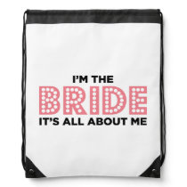 All About the Bride Pink Drawstring Bag
