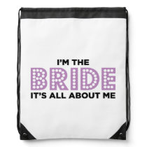 All About the Bride Purple Drawstring Bag