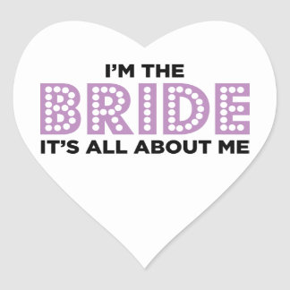 All About the Bride Purple Heart Sticker