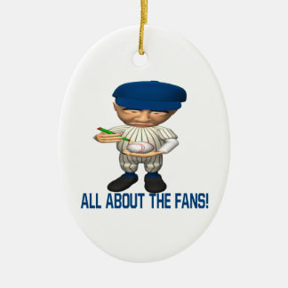 All About The Fans Double-Sided Oval Ceramic Christmas Ornament