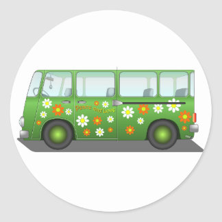 All about the love bus classic round sticker