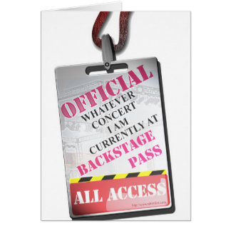 All Access Backstage Pass Card