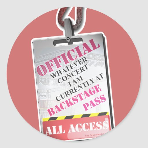 All Access Backstage Pass Classic Round Sticker
