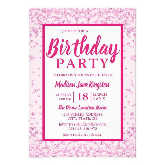 All Ages Pink Glitter Border Girly Birthday Party Invitation