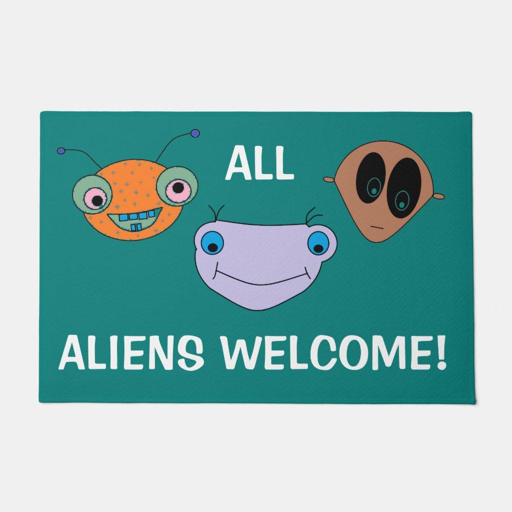 Cute Aliens Design FUN Doormat