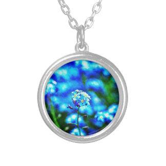 All Alone Blue Flower Round Necklace