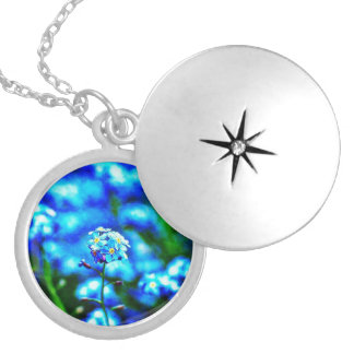 All Alone Blue Flower Silver Plated Necklace
