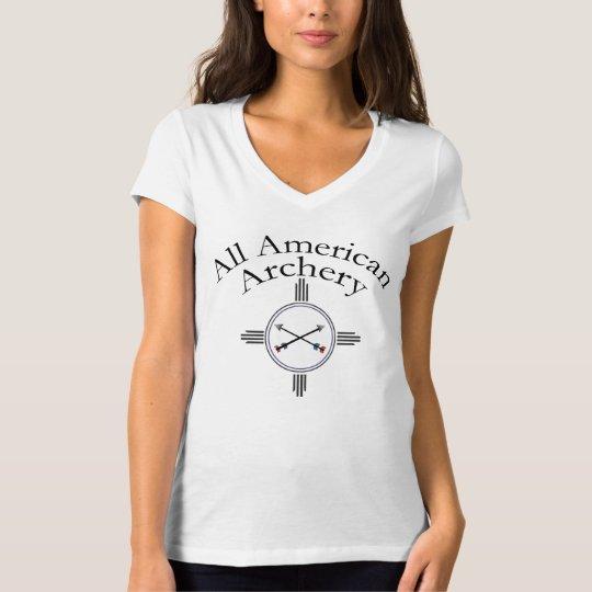 All American Archery V-Neck - White - Colorado T-Shirt