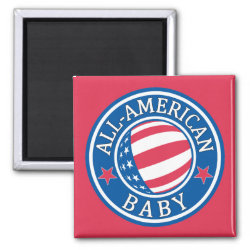 Square Magnet with All-American Baby design