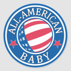 Round Sticker with All-American Baby design