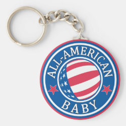 Basic Button Keychain with All-American Baby design
