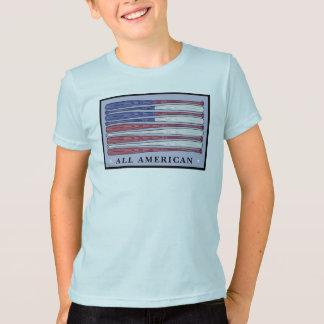 All American baseball bats flag boys blue tee